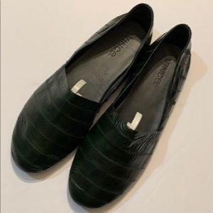 Vince Eel skin Bogart dark green loafers